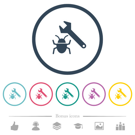 Bug fixing flat color icons in round outlines. 6 bonus icons included. Illustration