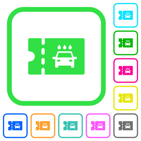 car washer discount coupon vivid colored flat icons in curved borders on white background