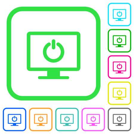 Display standby mode vivid colored flat icons in curved borders on white background