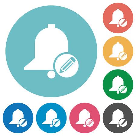 Modifier les icônes blanches plates de rappel sur des arrière-plans de couleur ronde Vecteurs