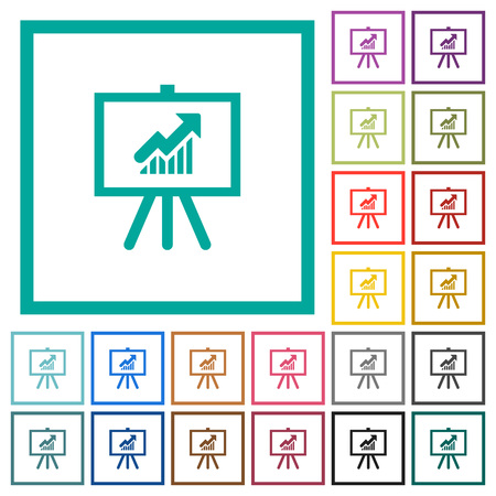 Presentation table with rising graph flat color icons with quadrant frames on white background