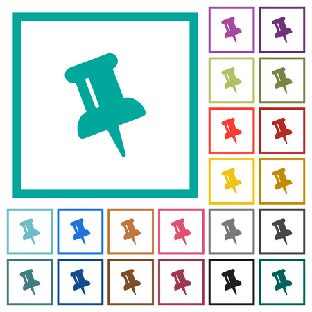 Push pin flat color icons with quadrant frames on white background
