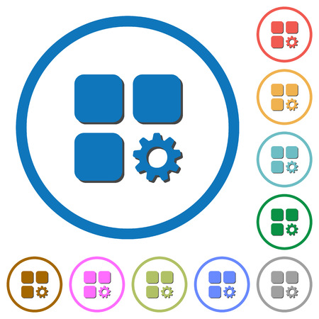 Component settings flat color vector icons with shadows in round outlines on white background Illusztráció
