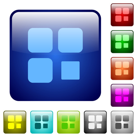 Component stop icons in rounded square color glossy button set
