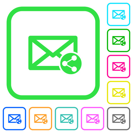 Share mail vivid colored flat icons in curved borders on white background