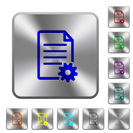 Document setup engraved icons on rounded square glossy steel buttons