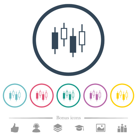 Candlestick chart flat color icons in round outlines. 6 bonus icons included.