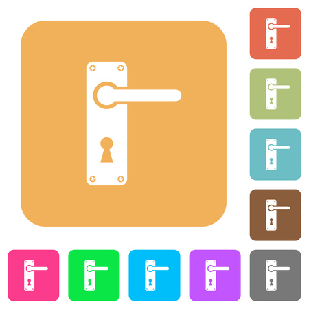Right handed door handle with screws flat icons on rounded square vivid color backgrounds.