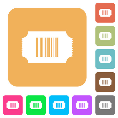 Ticket with barcode flat icons on rounded square vivid color backgrounds.