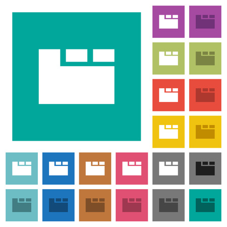 Horizontal tabbed layout active multi colored flat icons on plain square backgrounds. Included white and darker icon variations for hover or active effects.