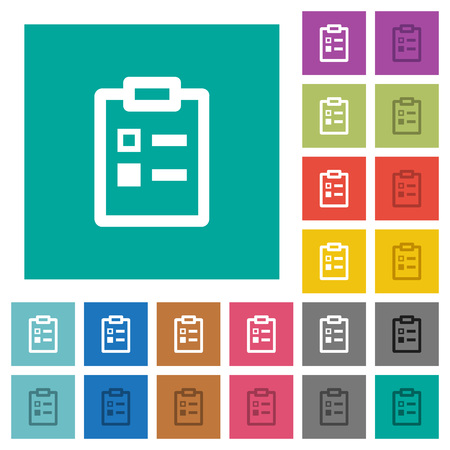Survey multi colored flat icons on plain square backgrounds. Included white and darker icon variations for hover or active effects. Stock Vector - 110442365
