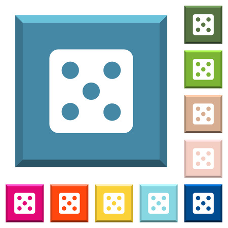 Dice five white icons on edged square buttons in various trendy colors Illustration