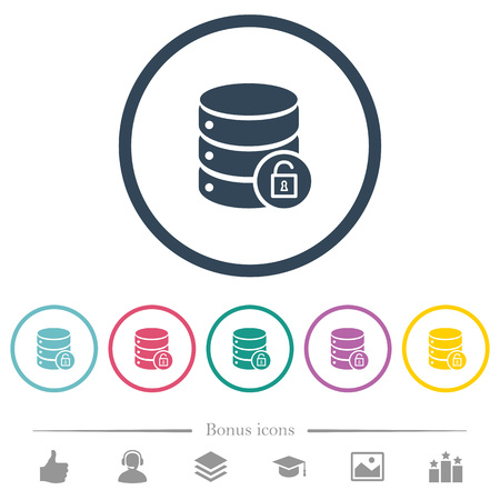 Unlock database flat color icons in round outlines. 6 bonus icons included. Illustration