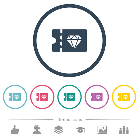 Jewelry store discount coupon flat color icons in round outlines. 6 bonus icons included.  イラスト・ベクター素材