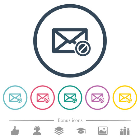 Forbidden mail flat color icons in round outlines. 6 bonus icons included.