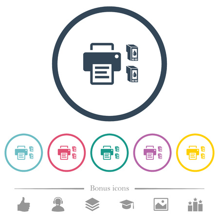 Printer and ink cartridges flat color icons in round outlines. 6 bonus icons included. 向量圖像