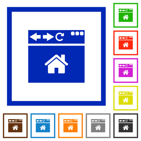 Browser home page flat color icons in square frames on white background Banque d'images - 107559760