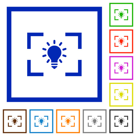 Camera white balance tungsten mode flat color icons in square frames on white background