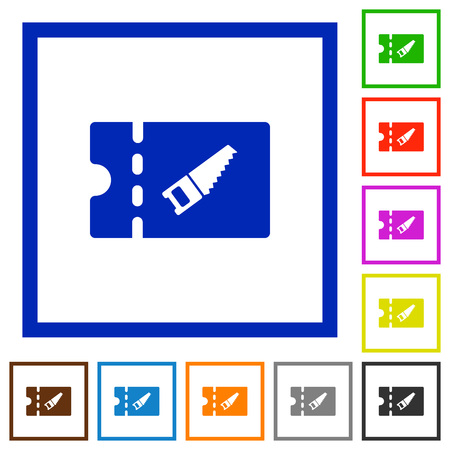 DIY shop discount coupon flat color icons in square frames on white background