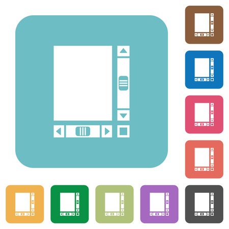 Blank document with scroll bars white flat icons on color rounded square backgrounds