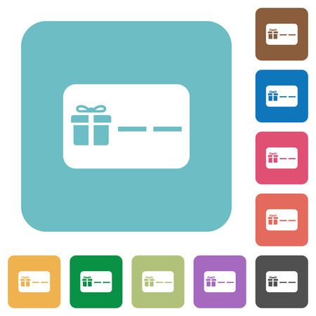 Gift card with placeholder white flat icons on color rounded square backgrounds