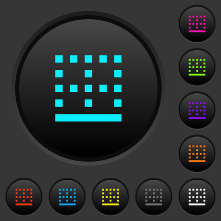 Bottom border dark push buttons with vivid color icons on dark grey background