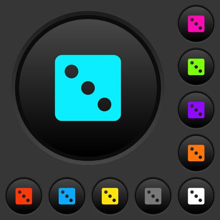Würfeln Sie drei dunkle Druckknöpfe mit lebendigen Farbsymbolen auf dunkelgrauem Hintergrund