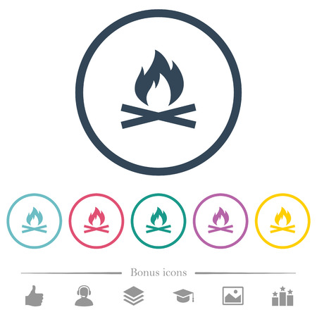 Camp fire flat color icons in round outlines. 6 bonus icons included.
