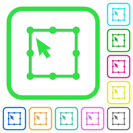 Free transform object vivid colored flat icons in curved borders on white background