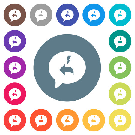 Quick reply message flat white icons on round color backgrounds. 17 background color variations are included.