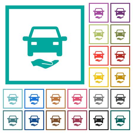 Icônes de couleur plat d'assurance voiture avec cadres quadrants sur fond blanc