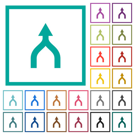 Merge arrows up flat color icons with quadrant frames on white background Stock Illustratie