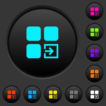 Import component dark push buttons with vivid color icons on dark grey background Illusztráció