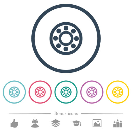 Bearings flat color icons in round outlines. 6 bonus icons included. Illustration