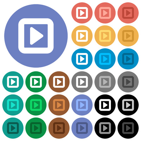 Toggle right multi colored flat icons on round backgrounds. Included white, light and dark icon variations for hover and active status effects, and bonus shades.