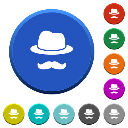 Incognito with mustache round color beveled buttons with smooth surfaces and flat white icons