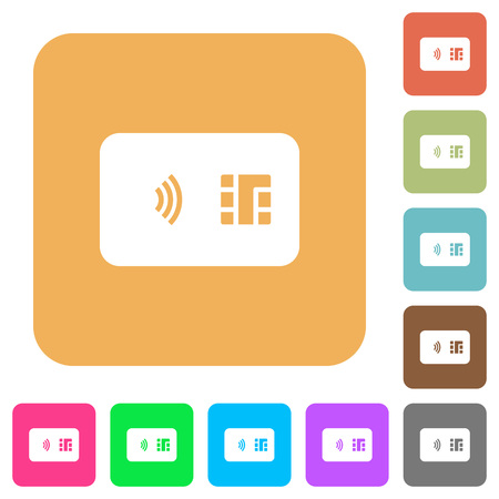 NFC chip card flat icons on rounded square vivid color backgrounds. Foto de archivo - 110408356