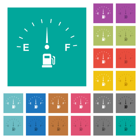 Fuel indicator multi colored flat icons on plain square backgrounds. Included white and darker icon variations for hover or active effects.