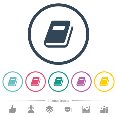 Personal diary flat color icons in round outlines. 6 bonus icons included. Vecteurs
