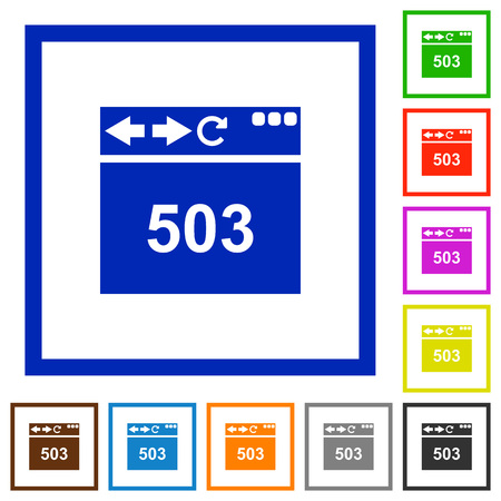 Browser 503 Service Unavailable flat color icons in square frames on white background Illustration