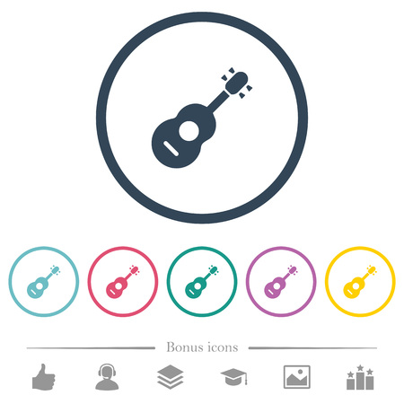 Acoustic guitar flat color icons in round outlines. 6 bonus icons included.