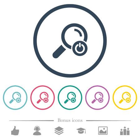 Quittez les icônes de couleur plate de recherche dans les contours ronds. 6 icônes bonus incluses. Vecteurs
