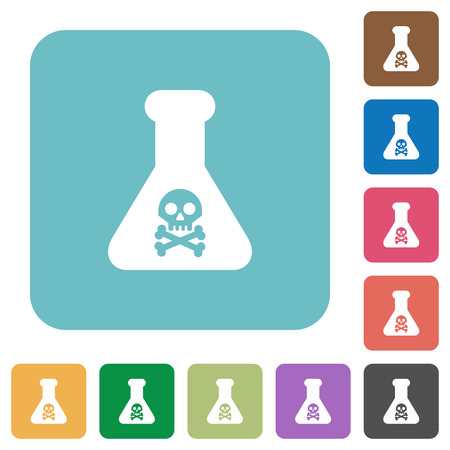 Dangerous chemical experiment white flat icons on color rounded square backgrounds