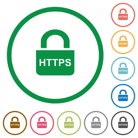 Secure http protocol flat color icons in round outlines on white background