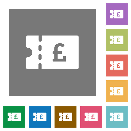 Pound discount coupon flat icons on simple color square backgrounds