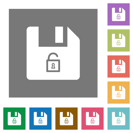 Unlock file flat icons on simple color square backgrounds