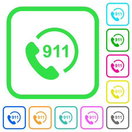 Emergency call 911 vivid colored flat icons in curved borders on white background