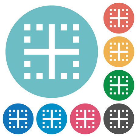 Inner borders flat white icons on round color backgrounds Illustration