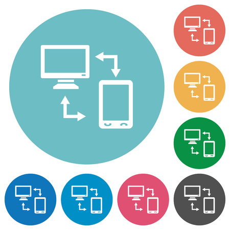 Syncronize mobile with computer flat white icons on round color backgrounds