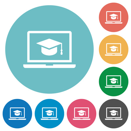 Webinar on laptop flat white icons on round color backgrounds